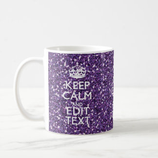 Keep Calm and Your Text on Stylish Purple Basic White Mug