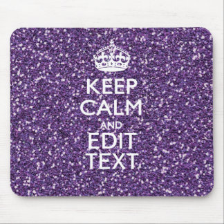 Keep Calm and Your Text on Stylish Purple Mouse Mat