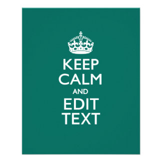 Keep Calm And Your Text on Teal Green Turquoise 11.5 Cm X 14 Cm Flyer