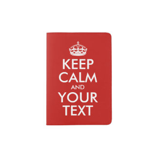 Keep Calm And Your Text Red Personalized Passport Holder