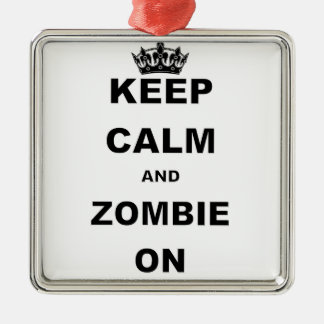 KEEP CALM AND ZOMBIE ON CHRISTMAS ORNAMENT