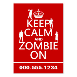 Keep Calm and Zombie On (in any color) Pack Of Chubby Business Cards