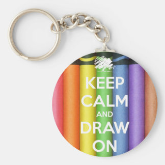 keep calm basic round button key ring