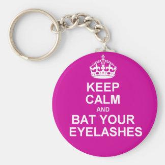 Keep Calm & Bat Your Eyelashes Basic Round Button Key Ring