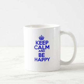 Keep Calm & Be Happy Basic White Mug