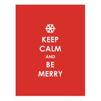 Keep Calm Be Merry Red Christmas Snowflake Holiday Postcard