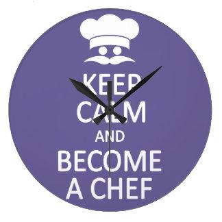 Keep Calm & Become a Chef custom wall clock