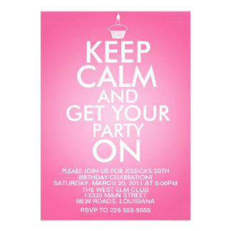 Keep Calm Birthday Personalized Invitation