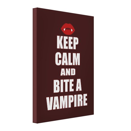 Keep Calm & Bite A Vampire Gallery Wrapped Canvas