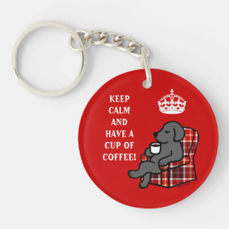 Keep Calm Black Labrador Acrylic Key Chain