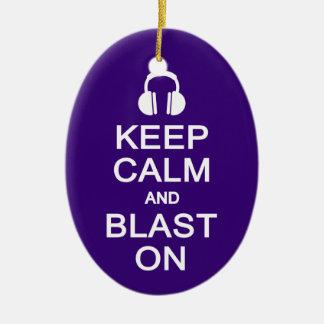 Keep Calm & Blast On ornament, customize Christmas Ornament