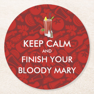 Keep Calm - Bloody Mary Round Paper Coaster