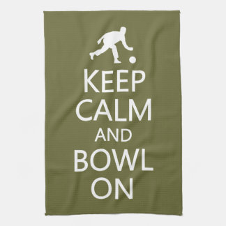 Keep Calm & Bowl On custom color kitchen towel
