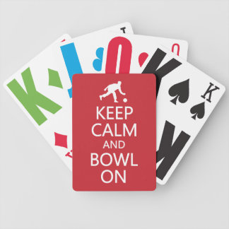 Keep Calm & Bowl On custom color playing cards