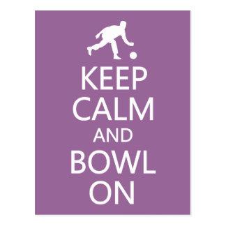 Keep Calm & Bowl On custom color postcard