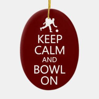 Keep Calm & Bowl On custom ornament