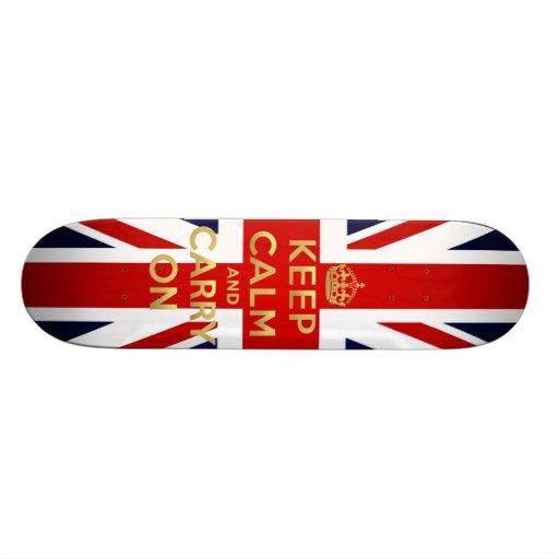 Keep Calm British Flag Union Jack GB Carry On Custom Skate Board