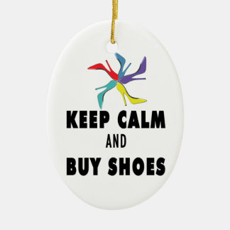 Keep Calm & Buy Shoes Quote Ceramic Oval Decoration