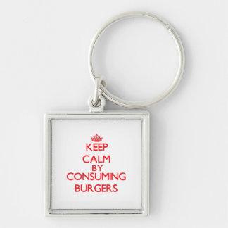 Keep calm by consuming Burgers Key Chain