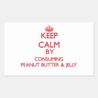 Keep calm by consuming Peanut Butter Jelly Rectangular Sticker