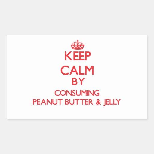 Keep calm by consuming Peanut Butter & Jelly Rectangular Sticker