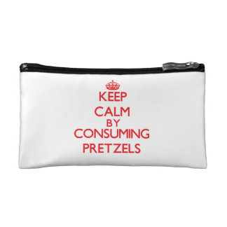 Keep calm by consuming Pretzels Cosmetic Bags
