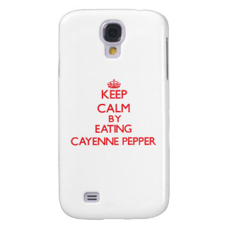 Keep calm by eating Cayenne Pepper Samsung Galaxy S4 Cases