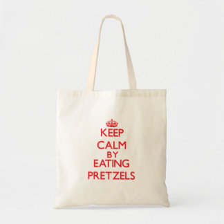 Keep calm by eating Pretzels Tote Bags