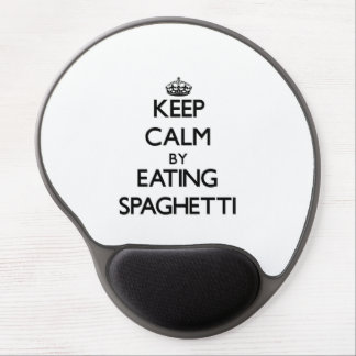 Keep calm by eating Spaghetti Gel Mouse Pad