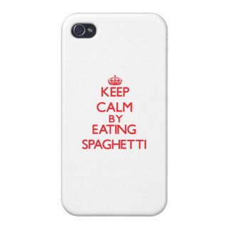 Keep calm by eating Spaghetti iPhone 4 Covers