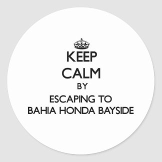 Keep calm by escaping to Bahia Honda Bayside Flori Round Stickers