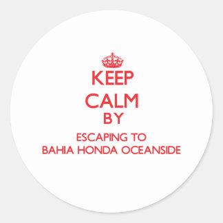 Keep calm by escaping to Bahia Honda Oceanside Flo Round Sticker