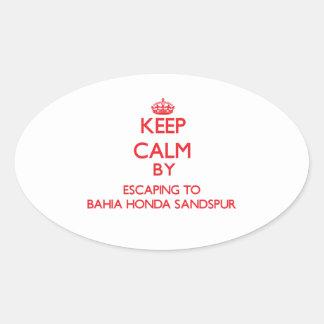 Keep calm by escaping to Bahia Honda Sandspur Flor Oval Sticker