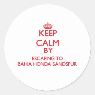 Keep calm by escaping to Bahia Honda Sandspur Flor Round Sticker