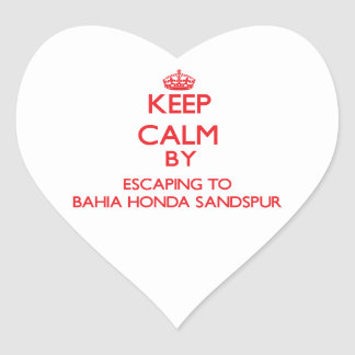 Keep calm by escaping to Bahia Honda Sandspur Flor Heart Stickers