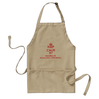 Keep calm by escaping to Bolsa Chica State Beach C Adult Apron