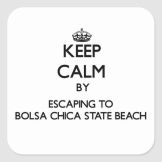 Keep calm by escaping to Bolsa Chica State Beach C Square Stickers