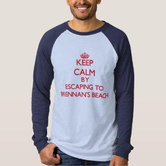 Keep calm by escaping to Brennan'S Beach New York T Shirts