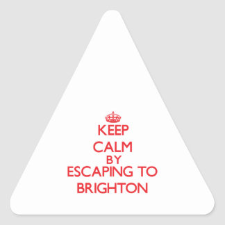 Keep calm by escaping to Brighton New Jersey Triangle Stickers