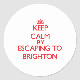 Keep calm by escaping to Brighton New Jersey Round Stickers