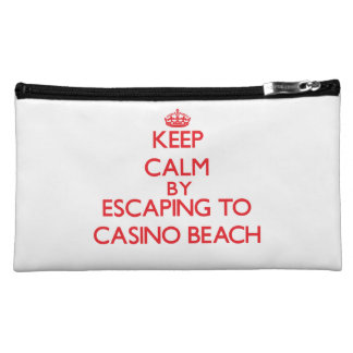 Keep calm by escaping to Casino Beach Florida Cosmetics Bags