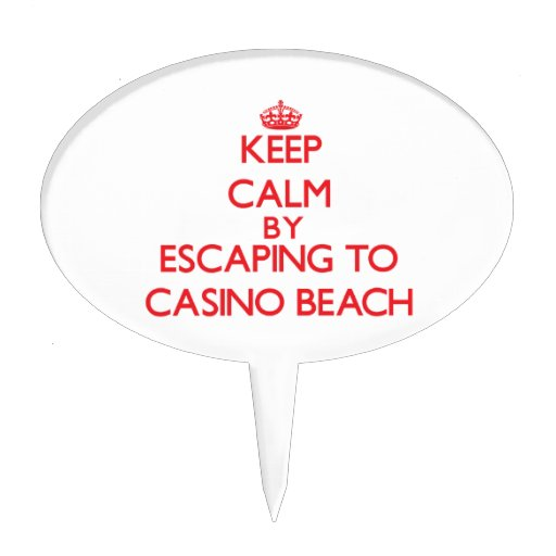 Keep calm by escaping to Casino Beach Florida Cake Toppers