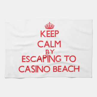 Keep calm by escaping to Casino Beach Florida Hand Towels