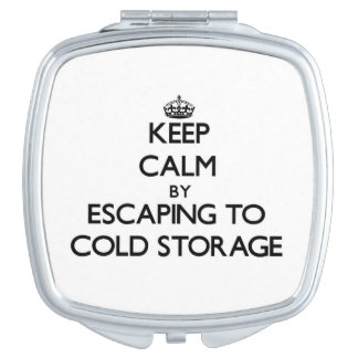 Keep calm by escaping to Cold Storage Massachusett Travel Mirror