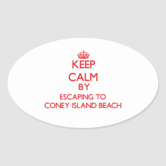 Keep calm by escaping to Coney Island Beach New Yo Stickers