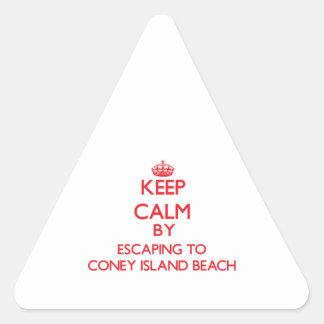 Keep calm by escaping to Coney Island Beach New Yo Triangle Sticker