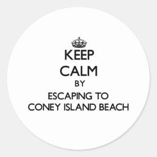 Keep calm by escaping to Coney Island Beach New Yo Round Sticker
