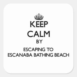 Keep calm by escaping to Escanaba Bathing Beach Mi Sticker