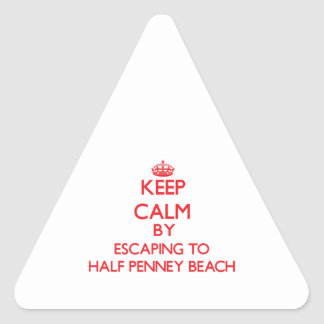 Keep calm by escaping to Half Penney Beach Virgin Triangle Sticker