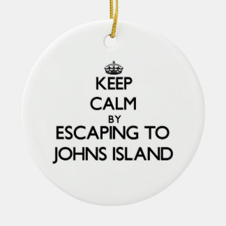 Keep calm by escaping to Johns Island Washington Round Ceramic Decoration
